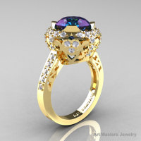 Modern Edwardian 14K Yellow Gold 3.0 Carat Alexandrite Diamond Engagement Ring Wedding Ring Y404-14KYGDAL-1