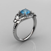 14KT White Gold Diamond Leaf and Vine Blue Topaz Wedding Ring Engagement Ring NN117-14KWGDBT Nature Inspired Jewelry-1