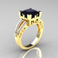 French Vintage 14K Yellow Gold 3.8 Carat Princess Black and White Diamond Solitaire Ring R222-YGDBD-1