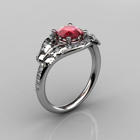 14KT White Gold Diamond Leaf and Vine Ruby Wedding Ring Engagement Ring NN117-14KWGDR Nature Inspired Jewelry-1