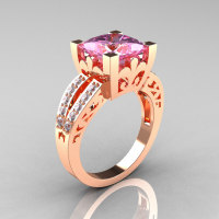 French Vintage 14K Rose Gold 3.8 Carat Princess Light Pink Sapphire Diamond Solitaire Ring R222-RGDLPS-1
