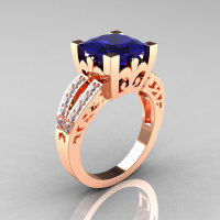 French Vintage 14K Rose Gold 3.8 Carat Princess Blue Sapphire Diamond Solitaire Ring R222-RGDBS-1