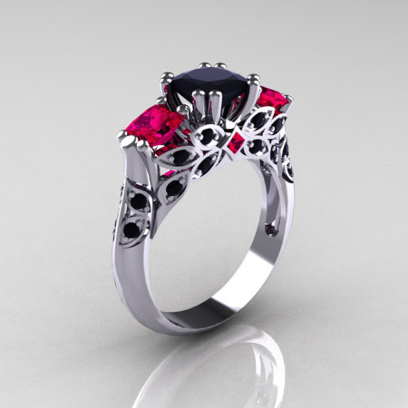 Classic 18K White Gold Three Stone Princess Black Diamond Rubies Solitaire Ring R500-18KWGRBD-1