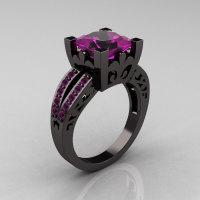 French Vintage 14K Black Gold Princess Amethyst Solitaire Wedding Ring R222-BGAM-1