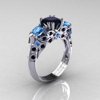 Classic 18K White Gold Three Stone Princess Black Diamond Blue Topaz Solitaire Ring R500-18KWGBTBD-1
