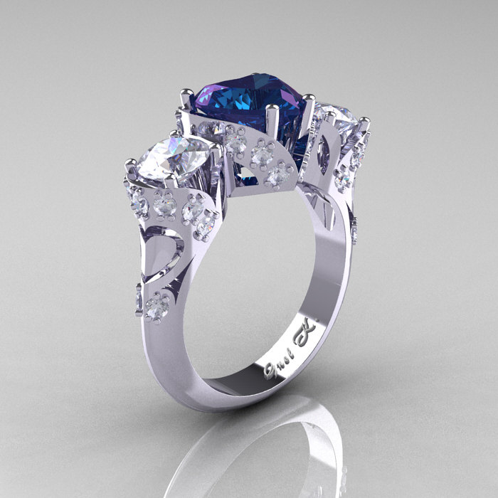 sapphire created frame ring cushion and sterling labcreated white lab alexandrite cushioncut v simulated p cut size silver in