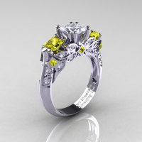 Classic 18K White Gold Three Stone Princess White and Yellow Sapphire Solitaire Engagement Ring R500-18KWGYSWS-1