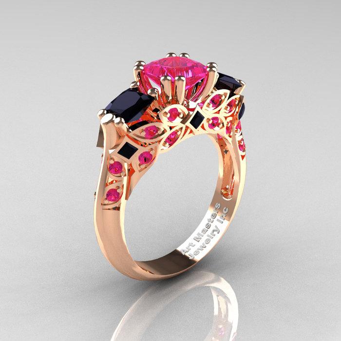 Classic 14K Rose Gold Three Stone Princess Pink Sapphire Black Diamond Solita