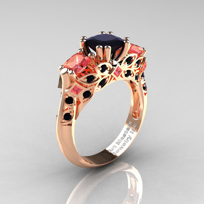 Classic 14k Rose Gold Three Stone Princess Black Diamond Peach Sapphire Solitaire