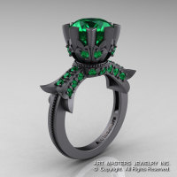 Modern Vintage 14K Gray Gold 3.0 Carat Emerald Solitaire Engagement Ring R253-14KGGEM-1