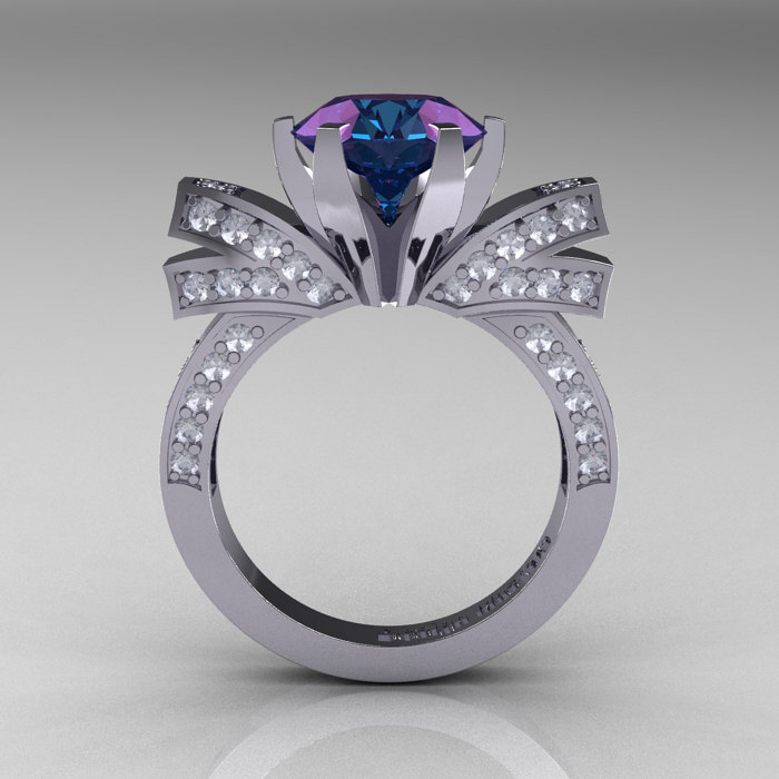 French 14k White Gold 3 0 Ct Russian Alexandrite Diamond Engagement Ring Wedding R382 14kwgdal