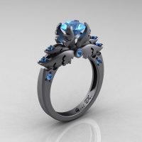 Classic Angel 14K Gray Gold 1.0 Carat Blue Topaz Solitaire Engagement Ring R482-14KGGBT-1