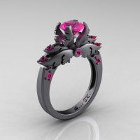 Classic Angel 14K Gray Gold 1.0 Carat Pink Sapphire Solitaire Engagement Ring R482-14KGGPS-1