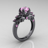Classic Angel 14K Gray Gold 1.0 Carat Light Pink Sapphire Solitaire Engagement Ring R482-14KGGLPS-1