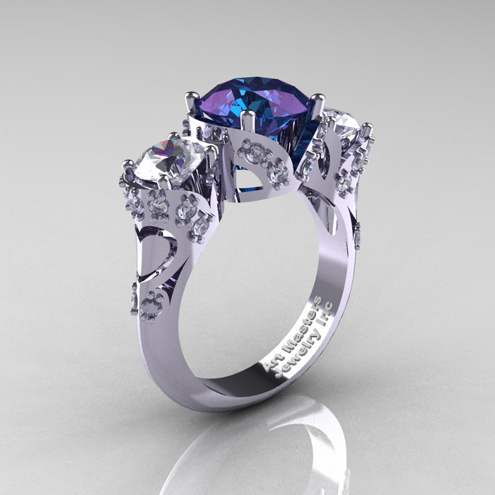 d9659e9fde9e9 Scandinavian 14K White Gold 2.0 Ct Alexandrite White Sapphire Diamond Three  Stone Designer Engagement Ring R406-14KWGDWSAL