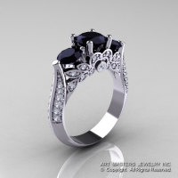 Classic 18K White Gold Three Stone Black and White Diamond Solitaire Ring R200-18KWGDBD-1