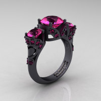 Scandinavian 14K Matte Black Gold 2.0 Ct Pink Sapphire Three Stone Designer Engagement Ring R406-14KMBGPS-1