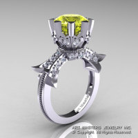 Modern Vintage 14K White Gold 3.0 Ct Yellow Topaz Diamond Solitaire Engagement Ring R253-14KWGDYT-1