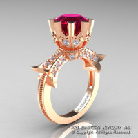 Modern Vintage 14K Rose Gold 3.0 Ct Garnet Diamond Solitaire Engagement Ring R253-14KRGDG-1