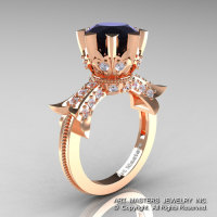 Modern Vintage 14K Rose Gold 3.0 Ct Black and White Diamond Solitaire Engagement Ring R253-14KRGDBD-1