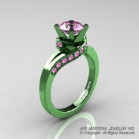 Classic Military 14K Green Gold 1.0 Ct Light Pink Sapphire Designer Solitaire Ring R259-14KGGLPS-1