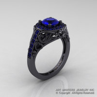 Italian 14K Matte Black Gold 1.0 Ct Blue Sapphire Engagement Ring Wedding Ring R280-14KMBGBS-1