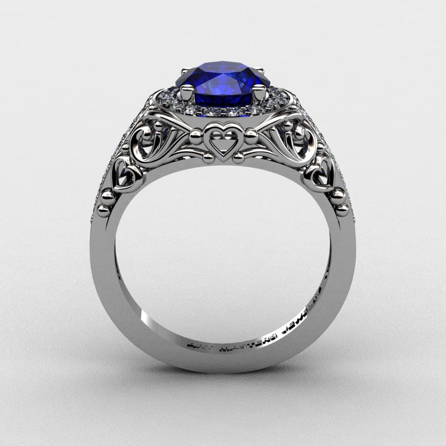 Italian 950 platinum 10 ct blue sapphire diamond for 1 ct wedding ring