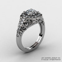 Italian 14K White Gold 1.0 Ct Cubic Zirconia Diamond Engagement Ring Wedding Ring R280-14KWGDCZ-1