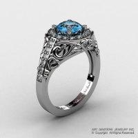 Italian 950 Platinum 1.0 Ct Aquamarine Diamond Engagement Ring Wedding Ring R280-PLATDAQ-1