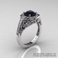 Italian 950 Platinum 1.0 Ct Black and White Diamond Engagement Ring Wedding Ring R280-PLATDBD-1