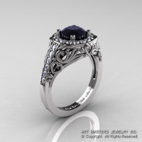Italian 14K White Gold 1.0 Ct Black and White Diamond Engagement Ring Wedding Ring R280-14KWGDBD-1