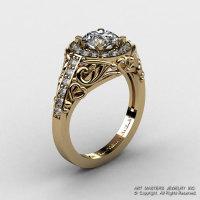 Italian 14K Yellow Gold 1.0 Ct Cubic Zirconia Diamond Engagement Ring Wedding Ring R280-14KYGDCZ-1