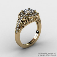Italian 14K Yellow Gold 1.0 Ct White Sapphire Diamond Engagement Ring Wedding Ring R280-14KYGDWS-1