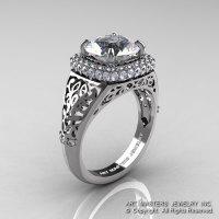 High Fashion 14K White Gold 3.0 Ct Cubic Zirconia Diamond Designer Wedding Ring R407-14KWGDCZ-1