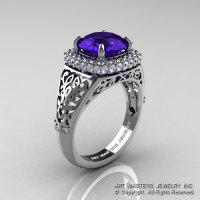 High Fashion 14K White Gold 3.0 Ct Tanzanite Diamond Designer Wedding Ring R407-14KWGDTA-1