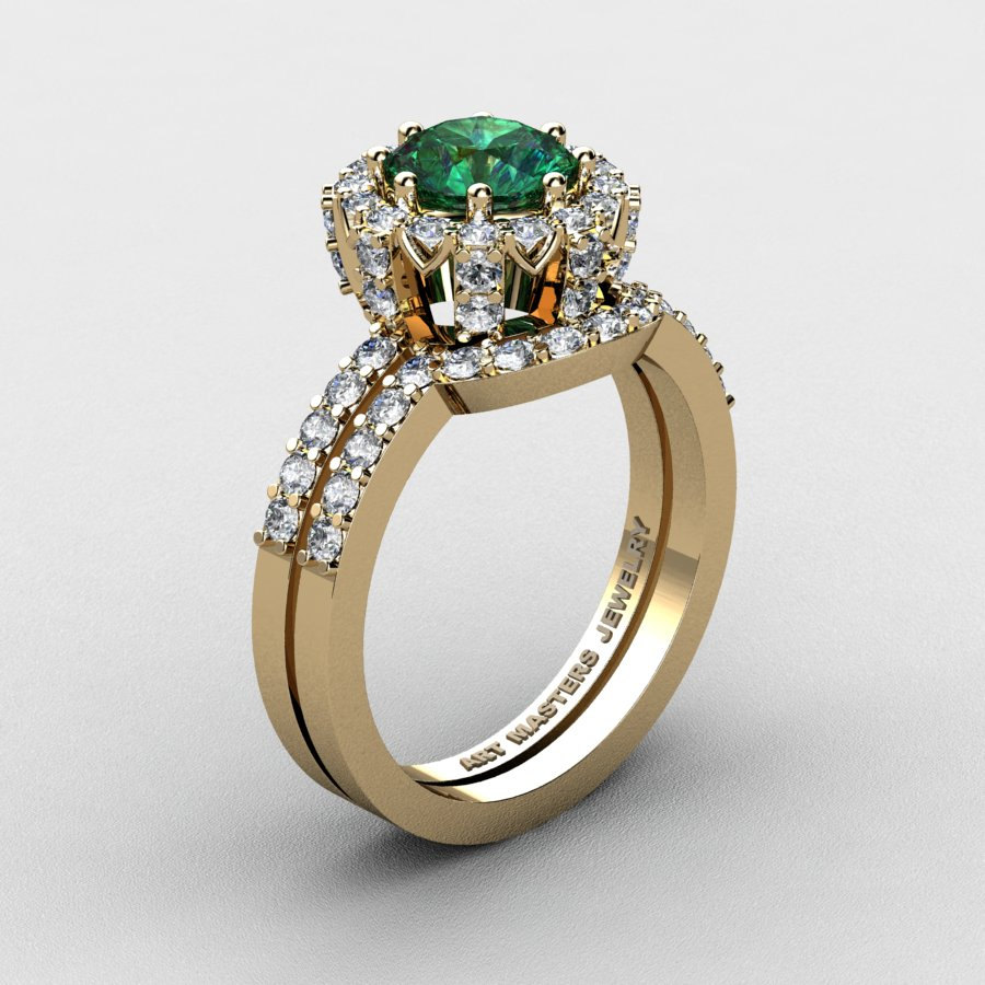 This is a graphic of French 45K Yellow Gold 45.45 Ct Chatham Emerald Diamond Engagement Ring Wedding Band Set R4458S-45KYGDCEM