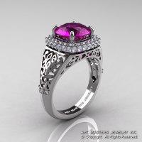 High Fashion 14K White Gold 3.0 Ct  Amethyst Diamond Designer Wedding Ring R407-14KWGDAM-1