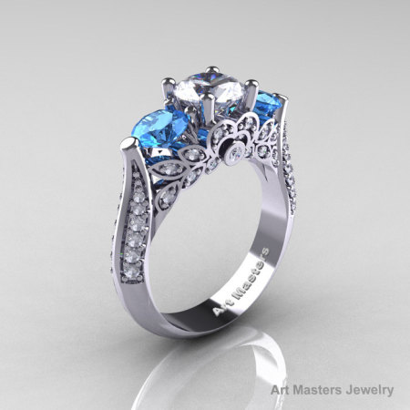 Classic 950 Platinum Three Stone White and Blue Topaz Diamond Solitaire Ring R200-PLATDBWT-1