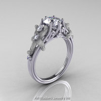 Classic Vintage 14K White Gold 1.0 CT Round White Sapphire Diamond Sea Star Engagement Ring R173-14KWGDWS-1