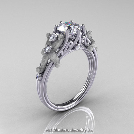Classic Vintage 14K White Gold 1.0 CT Round White Sapphire Diamond Sea Star Engagement Ring R173-14KWGDWS-1