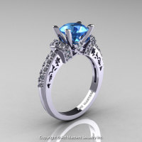 Modern Armenian Classic 14K White Gold 1.5 Ct Aquamarine Diamond Wedding Ring R137-14KWGDAQ-1