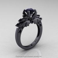 Classic Angel 14K Matte Black Gold 1.0 Ct Black Diamond Solitaire Engagement Ring R482-14KMBGBD-1