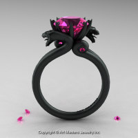 Modern Dragon 14K Matte Black Gold 3.0 Ct Pink Sapphire Engagement Ring R601-14KMBPS-1