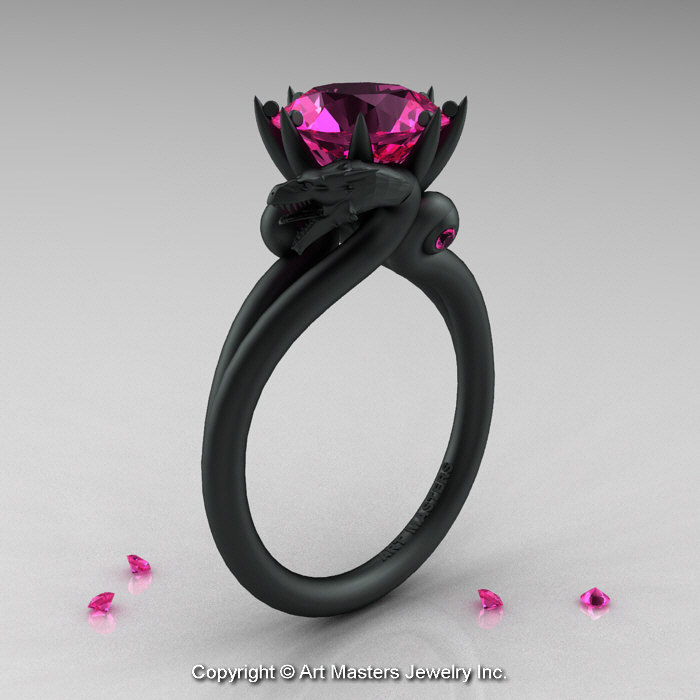 Modern Dragon 14K Matte Black Gold 30 Ct Pink Sapphire Engagement