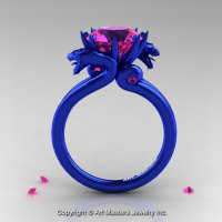 Modern Dragon 14K Blue Gold 3.0 Ct Pink Sapphire Designer Engagement Ring R601-14KBLGPS-1
