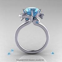 Art Masters 14K White Gold 3.0 Ct Aquamarine Dragon Engagement Ring R601-14KWGAQ-1