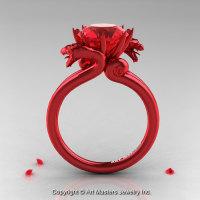Modern Dragon 14K Red Gold 3.0 Ct Rubies Designer Engagement Ring R601-14KRGR-1