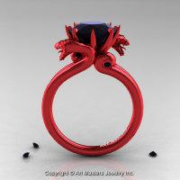 Art Masters 14K Red Gold 3.0 Ct Black Diamond Dragon Engagement Ring R601-14KRGBD-1
