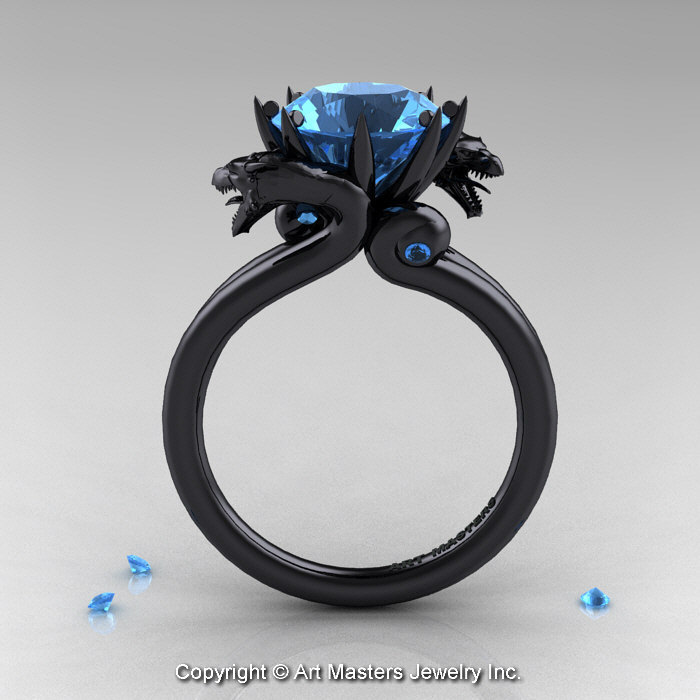 Art Masters 14K Black Gold 30 Ct Aquamarine Dragon Engagement Ring