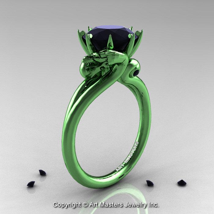 Art Masters 14k Green Gold 3 0 Ct Black Diamond Military Dragon Engagement Ring R601 14kggbd